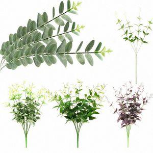 Ramos New Clematis eucalipto sae da planta de plástico verde Vinha Folhagem Casamento Casa Elegent Decor Jardim Bela Decoração dR2l #