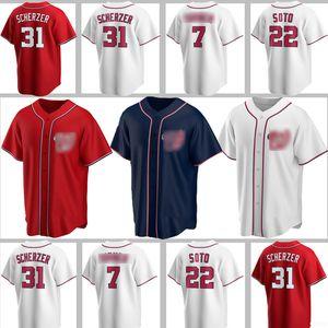 Individuelle Nationals Jerseys 7 Trea Turner 22 Juan Soto 31 Max Scherzer Baseball Bryce Anthony Rendon Wilmer Difo Ryan Zimmerman Kendrick