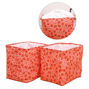 Folding Laundry Hamper, Cute Strawberry Print Dirty Clothes Sorter Storage Bin with Handles