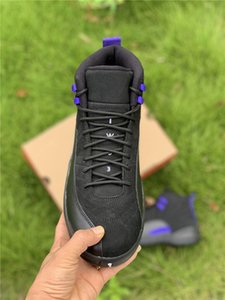 Hottest Air Authentic 12 Dark Concord Basketball Shoes Indigo Reverse Flu Game Black Purple Retro Real Carbon Fiber 12S Men Sneakers With Bo