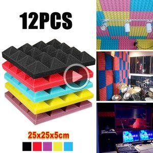 12st Pyramid Acoustic Foam Studio Akustische Behandlung Wandsticker schallisoliert Platte Dekor-Material Schallschutz Fliesen 25X25X5cm