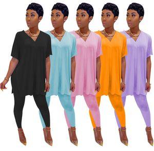 Duas mulheres Piece Set Treino Bat manga curta Sportswear V-neck de Split Top Magro shirt longo Pant Casual Sólidos Suits Esporte Cor Ty78