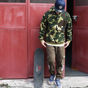 Hooded sweater Men The New Pure cotton Plus velvet pullover Camouflage Harajuku Casual Loose Hip hop Couple sweatshirt Europe and America