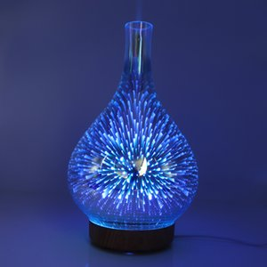 Fragrance Lamps 3D Fireworks Glass Humidifier Colorful LED Gradient Night Light Aromatherapy Machine Household Essential Oil Diffuser DHE936