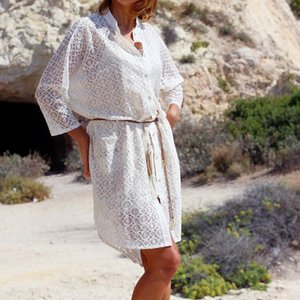 Swimsuit Beach Dress Women Lace Hollow Out Bikini Cover Up Half Sleeved Sunscreen Beach Bathing Suit Cover-Ups Beachwear 2020