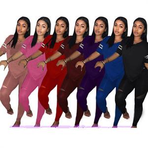 Pailletten Brief Frauen Anzug mit V-Ausschnitt Kurzarm T-Shirt T-Shirt + Hosen-Gamaschen 2-teiliges Set Sommer-Outfits Trendy Sport Drucken Anzug S-3X