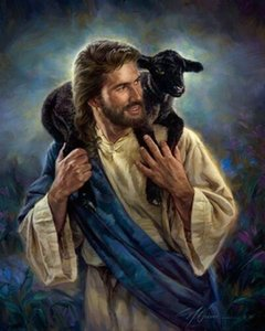 Nathan Greene THE GOOD SHEPHERD Jesus Black Lamb Sheep Wall Decor Oil Painting On Canvas Wall Art Canvas Picture 200825