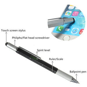 1PCS 6 in 1 Pocket Multi Function Pen with Touch Screen Ruler Level Multi Head Mini Screwdriver