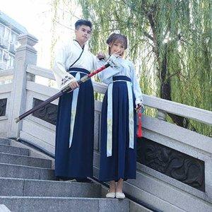 Chinesische traditionelle Han-Dynastie Swordsman Cosplay Costume National Hanfu Kleidung Männer Frauen Oriental Folk Bühne Tanzkleidung