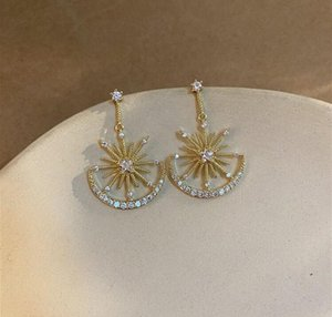 High-quality moon star Sun shiny rhinestone earrings show small delicated ladies ear accessories lo6S#