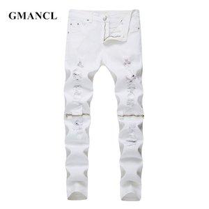 GMANCL neue Art und Weise Mens-Knie-Reißverschluss zerrissene Jeans-Baumwolle Rot Schwarz Weiß Elastic schlanke Männer Motorrad-Denim Jogger dünne Jeans