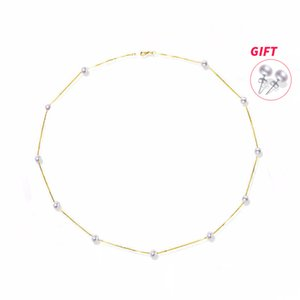 XF800 18K Yellow Gold Natural Freshwater Pearl Necklace Fine Jewelry Best Wedding Gift Bridal Pearl Chains Necklace XFX233 C0927