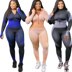 New Arrivals Plus Size Women Tracksuits XL--4XL Two Pieces Casual Sports Workout Sets Long Sleeve Jacket and Sweatpants Fashion