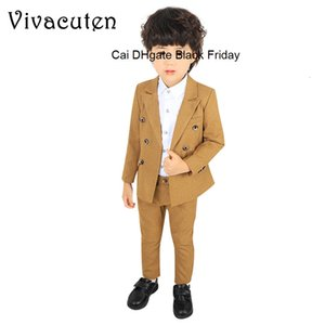Brand England Style Boys Fashion Clothing Set Kids Double Breasted Blazer Pants for Wedding Party Suit Fashion 2-11Y Boy Costume