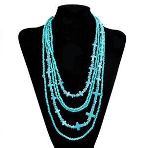 Multistrato traversa del turchese di modo delle collane Bohemia Stone Choker monili del regalo per il retro delle donne Perle di vetro catena in rilievo della collana degli accessori