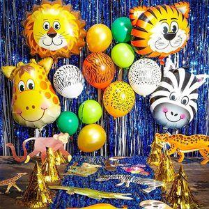 Cyuan 정글 사파리 파티 동물 호랑이 사자 원숭이 얼룩말 기린 암소 공기 헬륨 풍선 어린이 동물원 테마 생일 파티 장식