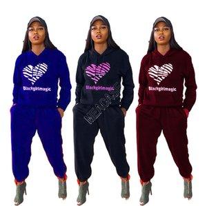 Mulheres Designers Hoodie moletom com capuz manga comprida Treino duas partes Outfits Outono-Inverno Big Coração Imprimir Roupa Set Sportswear D82402