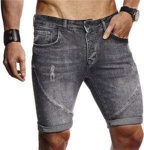 Solid Color Magro Jean Pants Mens Fashion joelho Jeans Verão Mens Buraco Designer Jean Shorts