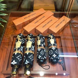 Los diseñadores lujos Carta paraguas de la Mujer estilo clásico de los hombres impresa letra paraguas a prueba de viento creativo Doblar parasol por un regalo