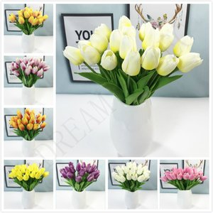 Latex Tulips Artificial PU Flower bouquet Real touch flowers Wedding For Home decoration Wedding Decorative Flowers