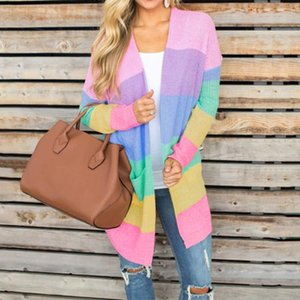 Spring Sweater Women Long Sleeve Patchwork Knitted Open Front Rainbow Striped Cardigan Women Coat sueter mujer invierno 2020