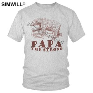 Männlich Super Papa The Strong Bear T-Shirt Funny Funny-wildes Tier-T-Shirt für Vati-T-Shirts Kurzarm Cotton Freizeit T-Geschenk