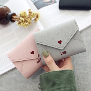 Fashion Love Heart Pattern Women Wallet PU Leather Embroidery Short Wallets Clutch Female Multi function Carteras