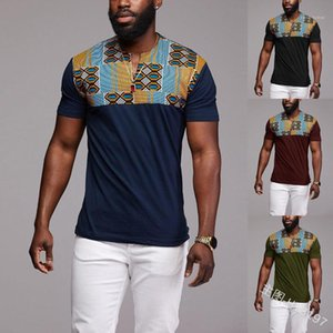Designer Tshirts Slim Panelled Contrast Color V Neck Short Sleeve Tops Plus Size Male Clothes African Style Mens
