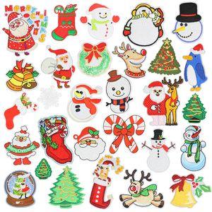 20 Stiller Noel Rozetler Çamaşır Nakış Yama Aplike Ütü Giyim Dikiş Giyim İçin Dekoratif Patches Malzemeleri