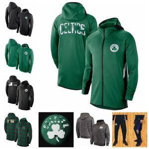 BostonCelticsHommes Showtime Jersey Therma Flex Performance BOS Full-Zip Basketball Hoodie vert