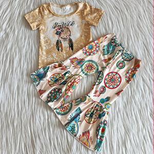Venta caliente Ropa para niños Niñas Niñas Trajes de otoño de manga corta Bell Backfit 2pcs Lindo bebé niña diseñador ropa conjunto leche seda boutique