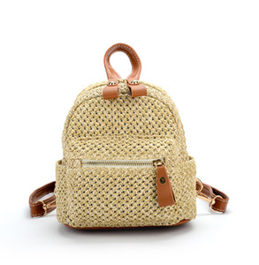 Мода Детская трава ткачество Рюкзак Девушки двойной сумка для мальчиков повседневная рюкзак женщин мини-сумка A4027