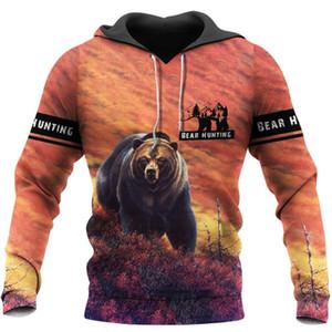 Animal Bear Hunting Beautiful 3D Printed Mens Hoodie Harajuku Sweatshirt Unisex Casual Jacket Pullover sudadera hombre KJ059
