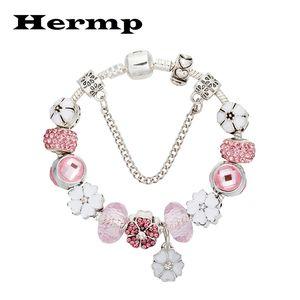 Hermp Flower Pendant Charm Bracelets For Women Beads Fit Brand Bracelet Jewelry 2020 Summer New