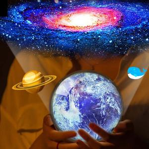Çocuk Hediyesi için Gece Işığı Starry Sky Planet Sihirli Işıklar Star Projeksiyon Toprak Evren LED Renkli Döndür Yanıp sönen Yıldız Lambası