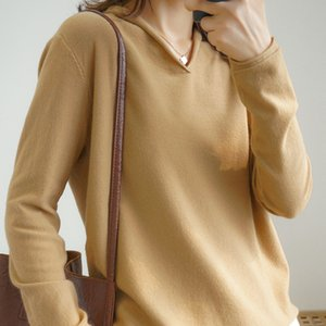 Hot Sale High quality Pullover knitted cashmere sweater long sleeve V-collar sweater women pull femme nouveaute