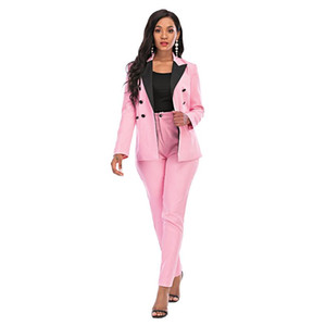 Elegant Women Blazer Suits Long Sleeve Single Breasted Blazer Pants Set Autumn Winter Pink Office Ladies Two-Piece Set 30