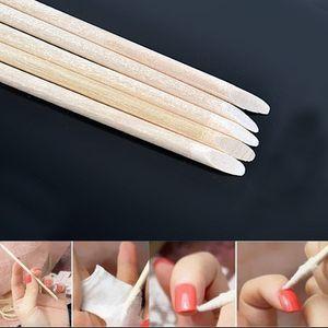 100pcs pack Nail Wood Stick Design Cuticle Pusher Orange Sticks Cuticle Pusher Remover Manicure Pedicure Care