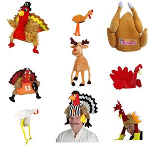 Decoración de fiesta de Turquía de la fiesta de Navidad para adultos Sombrero de terciopelo de Acción de Gracias Decoración pierna de pollo Sombrero XD23855