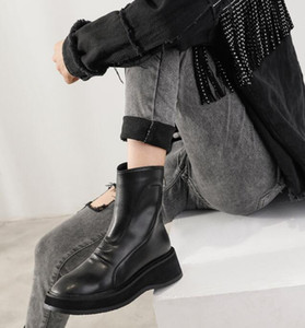 Women wedge Heighten Boots Black platform Martin Boots Genuine Leather round Toes zip luxury England style Lady Fashion Ankle Boot