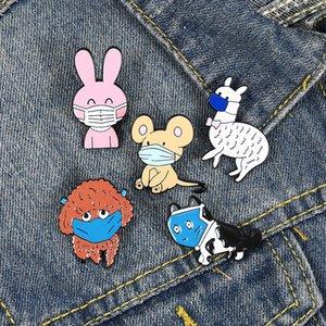 Funny Animals Enamel Pin Custom Cat Dog Rabbit Rat Alpaca Brooches Bag Lapel Pin Cartoon Badge Jewelry for Kids Friends zdl0926.