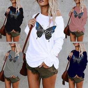Dimensioni Donne Abbigliamento Donna 2020 di lusso del progettista magliette Primavera Autunno manica lunga Stampa allentato T delle parti superiori di modo più