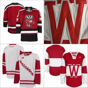NCAA Wisconsin Badgers College Hóquei Jerseys Adultos Vermelho Branco Stithed Wisconsin Badgers em branco Mens Jersey S-3xl Frete Grátis