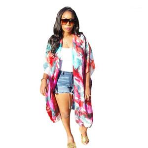 Giyim Kadın Cape Tasarımcı Batik Desen Cape Casual Yarım Kol Doğal Renk Hırka Coats Kadınlar
