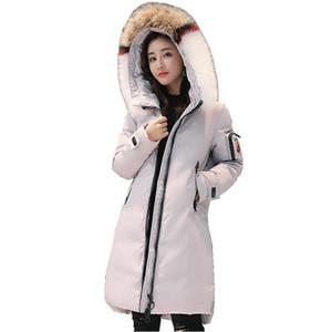 (TopFurMall) Европейская зима Женщины Parkas вниз пальто шерсти енота Hoody Леди Длинные пиджаки Шинель LF9150 T200828