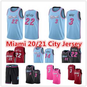 Dwayne Wade 3 Jersey Femininos Rosa Jimmy 22 Butler 14 Tyler Herro Kendrick 25 Nunn azul Basketball Jerseys MiamiCalor2020 short