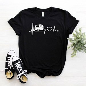 Happy Camper battito cardiaco Le donne maglietta del cotone casuale pantaloni a vita bassa divertente maglietta signora Gift Yong ragazza Top Tee Drop Ship ZY-295