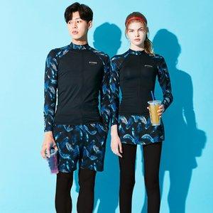 2020 neue Paar Taucheranzüge Taucheranzug Damen-Quallen Kleidung abnehmen Schnorchel Kleidung lange Hülse Split Paar Badeanzug
