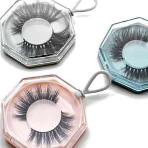 Creativo ciglia finte Packaging Box acrilico poligonale Keychain Svuotare Lash pacchetto caso con vassoio (senza ciglia) DHL