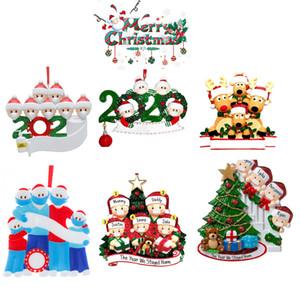 6 Стиль рождественские украшения DIY Приветствие 2020 Survivor семьи Карантин Xmas Birthday Party Pandemic социальное дистанцирование елке Подвеска